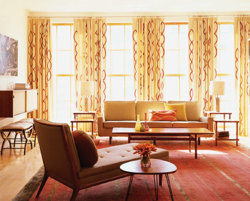 gold-living-room-windows-curtain-and-drapes-with-red-pattern-also-upholster-sofa-love-seat-and-red-rug-also-sleepr-chair-and-coffee-table-and-laminate-flooring-modern-glass-windows-curtain