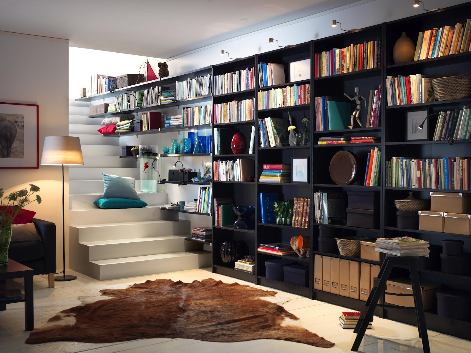 great-wall-ikea-creative-bookshelves-structure-performing-grand-mounted-wall-shelves-and-shelving-unit-combination-on-black-tones-along-with-led-focus-lighting-ideas-ikea-creative-bookshelves-home-dec