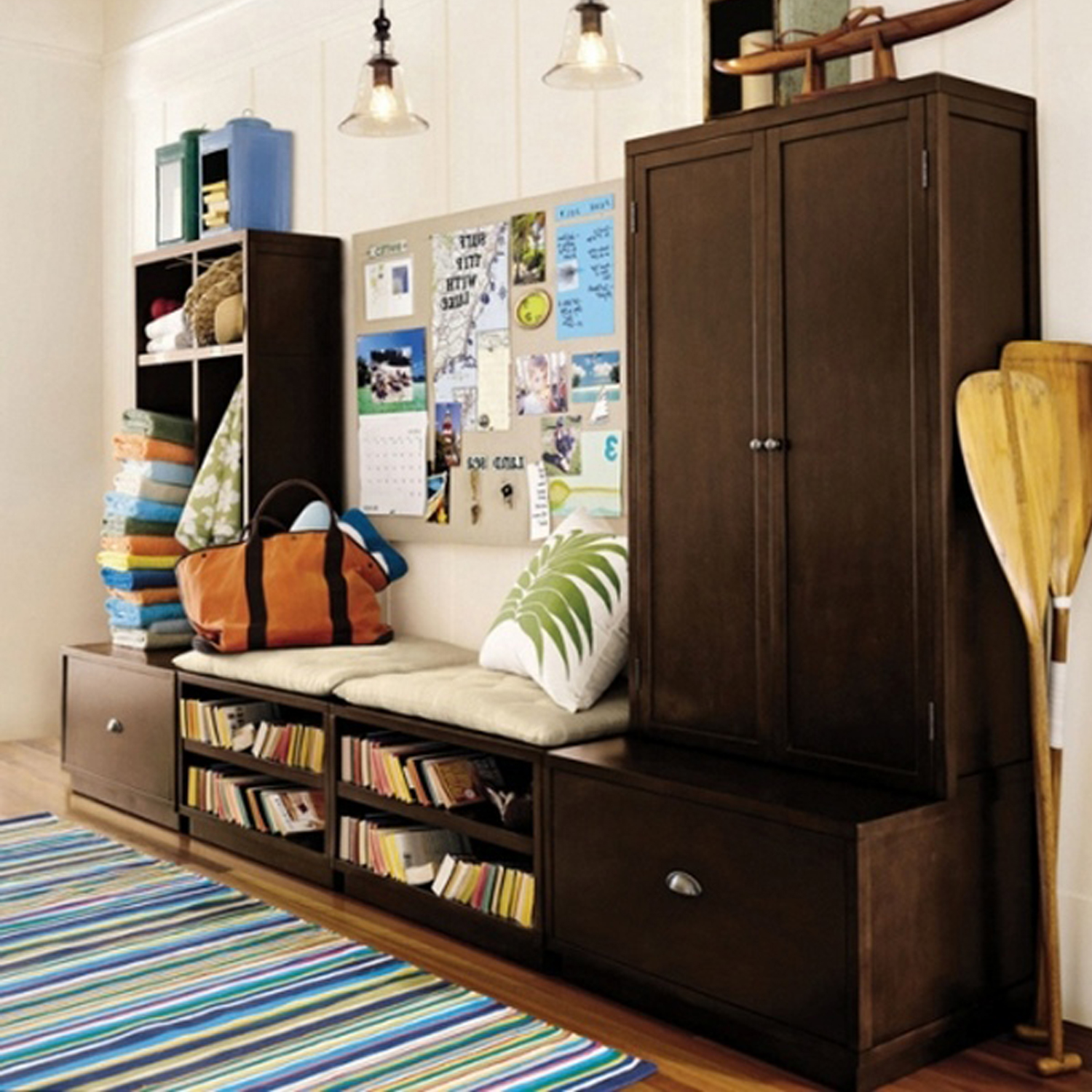 hallway-furniture-design-with-bookshelf-and-furniture-storage-under-wooden-cabinet-combined-with-bench-seat-and-pillow-ideas