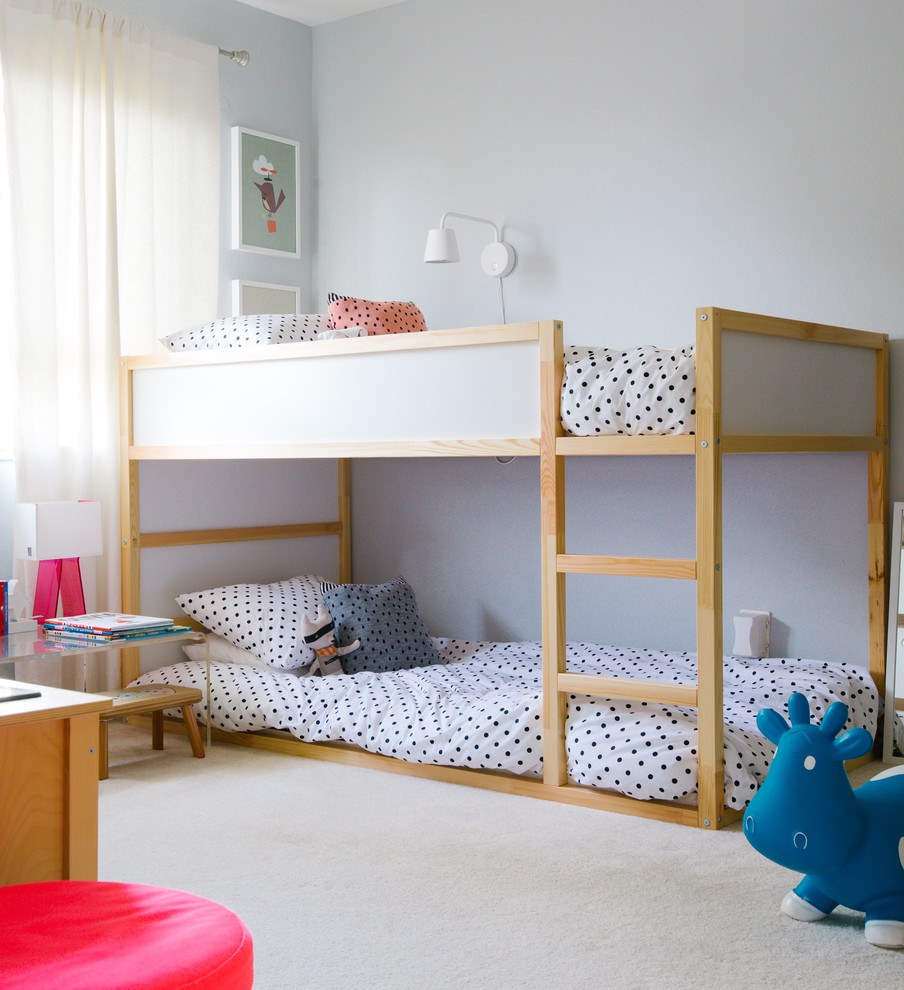 ikea-bunk-beds-kids-transitional-with-beige-carpet-bouncy-toy