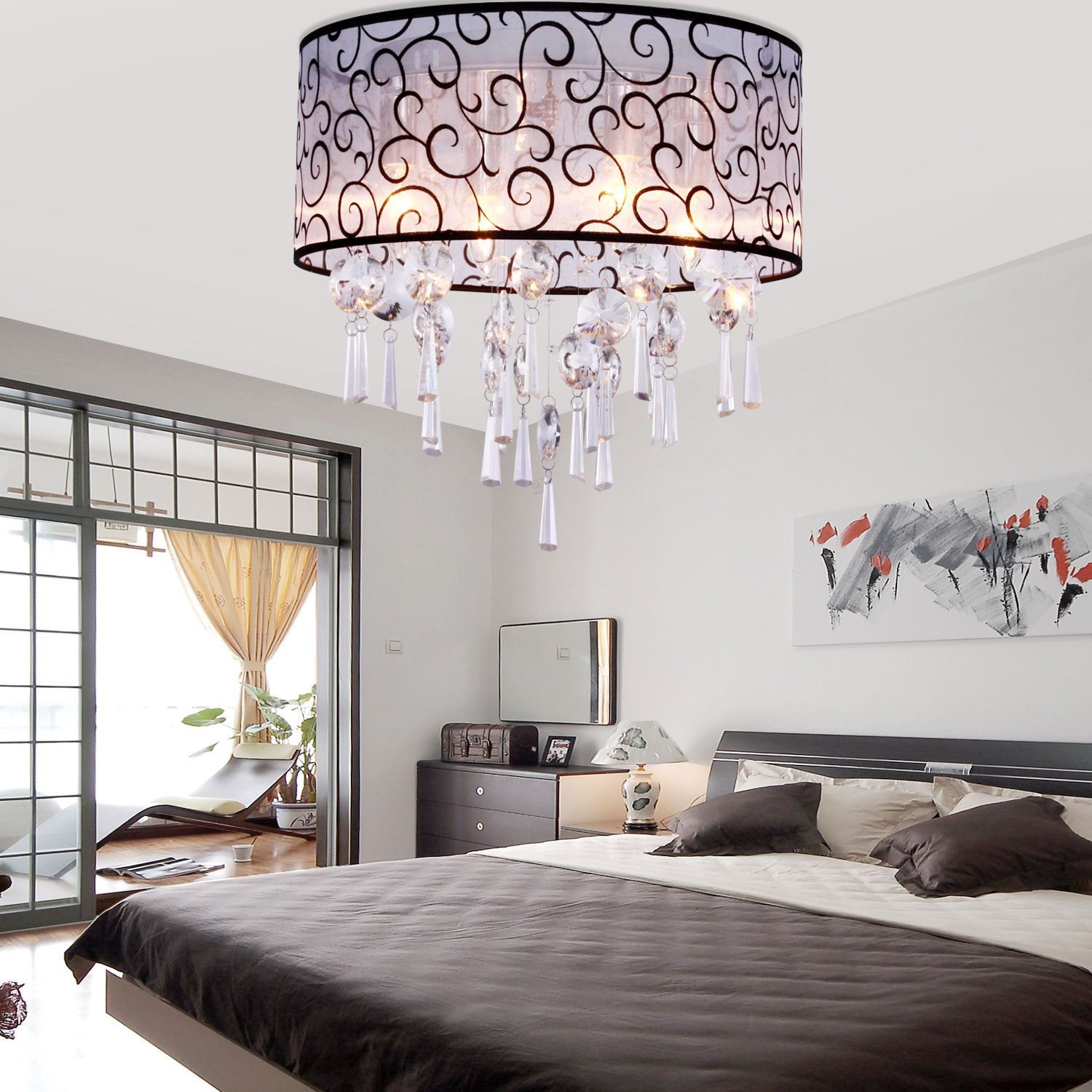 impressive-bedroom-interior-accessories-decoration-integrates-charming-king-size-bed-complete-fabulous-balcony-also-shining-crystal-chandelier-for-modern-ceiling-design-inspiration-crystal-chandelier