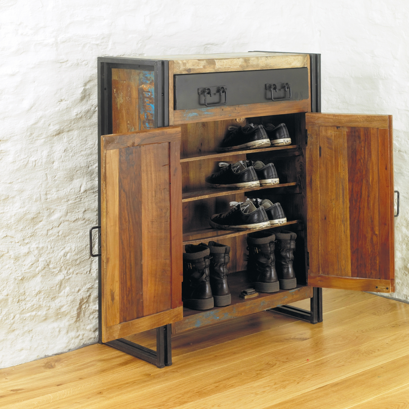 idea of agra solid reclaimed wood hallway shoe storage cabinet cupboard ebay