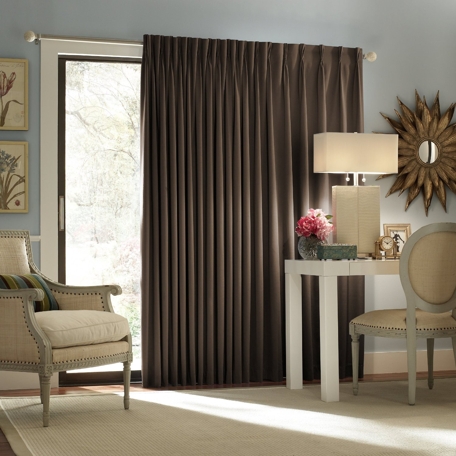 inspiration-curtains-interesting-dark-brown-fabric-sliding-curtain-doors-for-glass-entry-doors-as-well-as-simple-style-as-modern-drapes-ideas-also-vintage-accent-wood-armchairs-and-shade-lamps-on-whi
