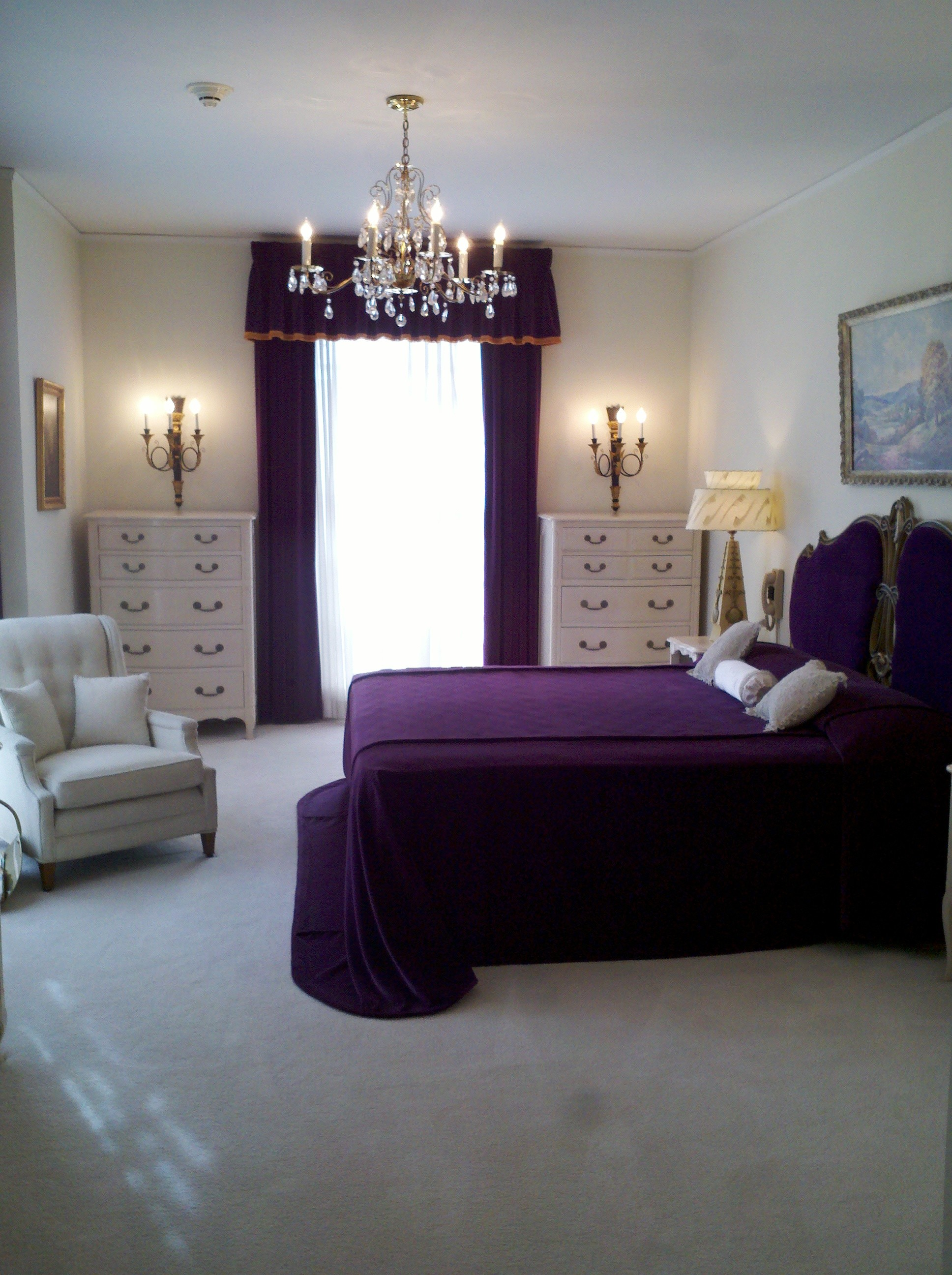 inspiration-wonderful-crystal-bedroom-chandelier-over-purple-bed-cover-set-and-white-lingerie-dresser-as-well-as-oversize-chairs-in-master-classic-purple-bedrooms-ideas-salient-purple-bedr