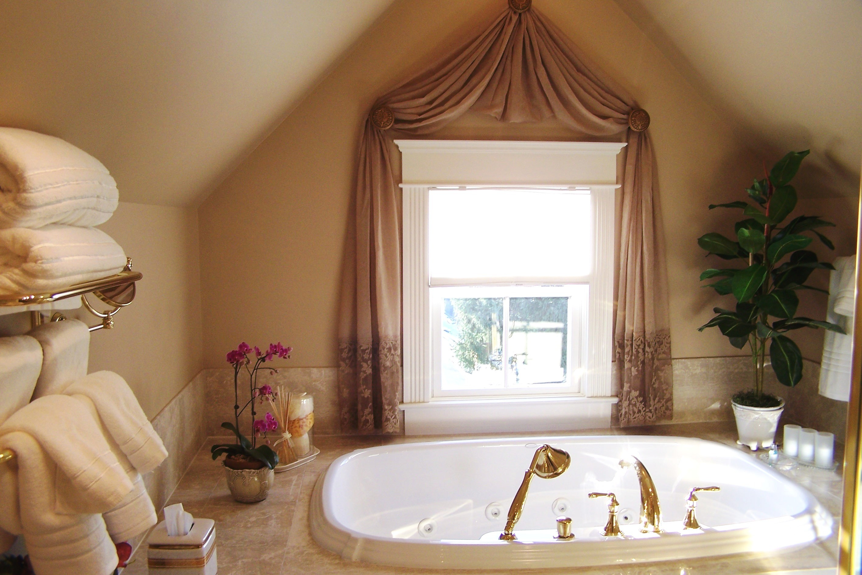 interior-bathroom-interior-design-with-white-stained-wooden-glass-window-using-brown-curtain-combined-with-white-ceramic-jacuzzi-alluring-curtain-styles-for-windows-to-sweetened-your-room