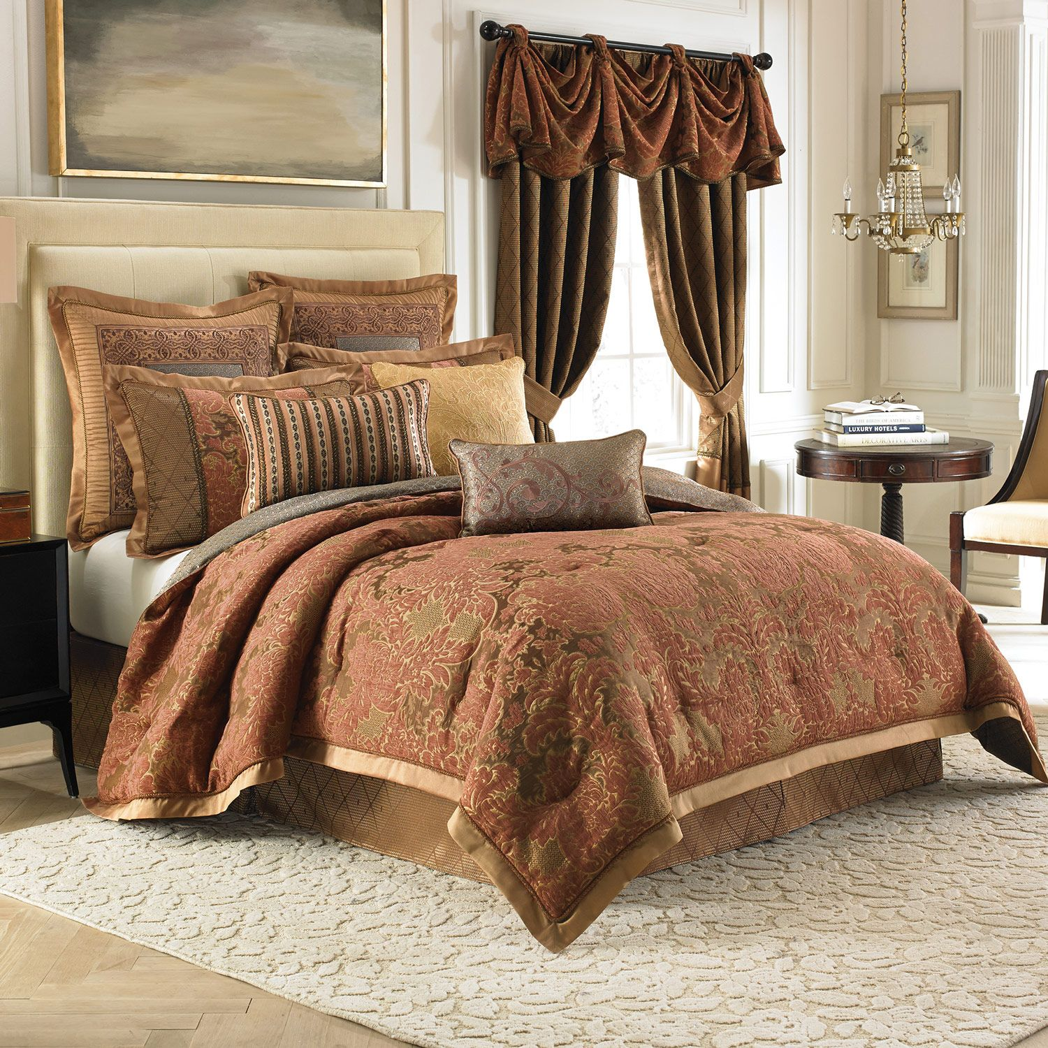 interior-dark-brown-curtains-plus-white-bed-having-brown-cream-comforter-bedding-set-placed-on-the-white-rug-bedroom-comforter-and-curtain-sets