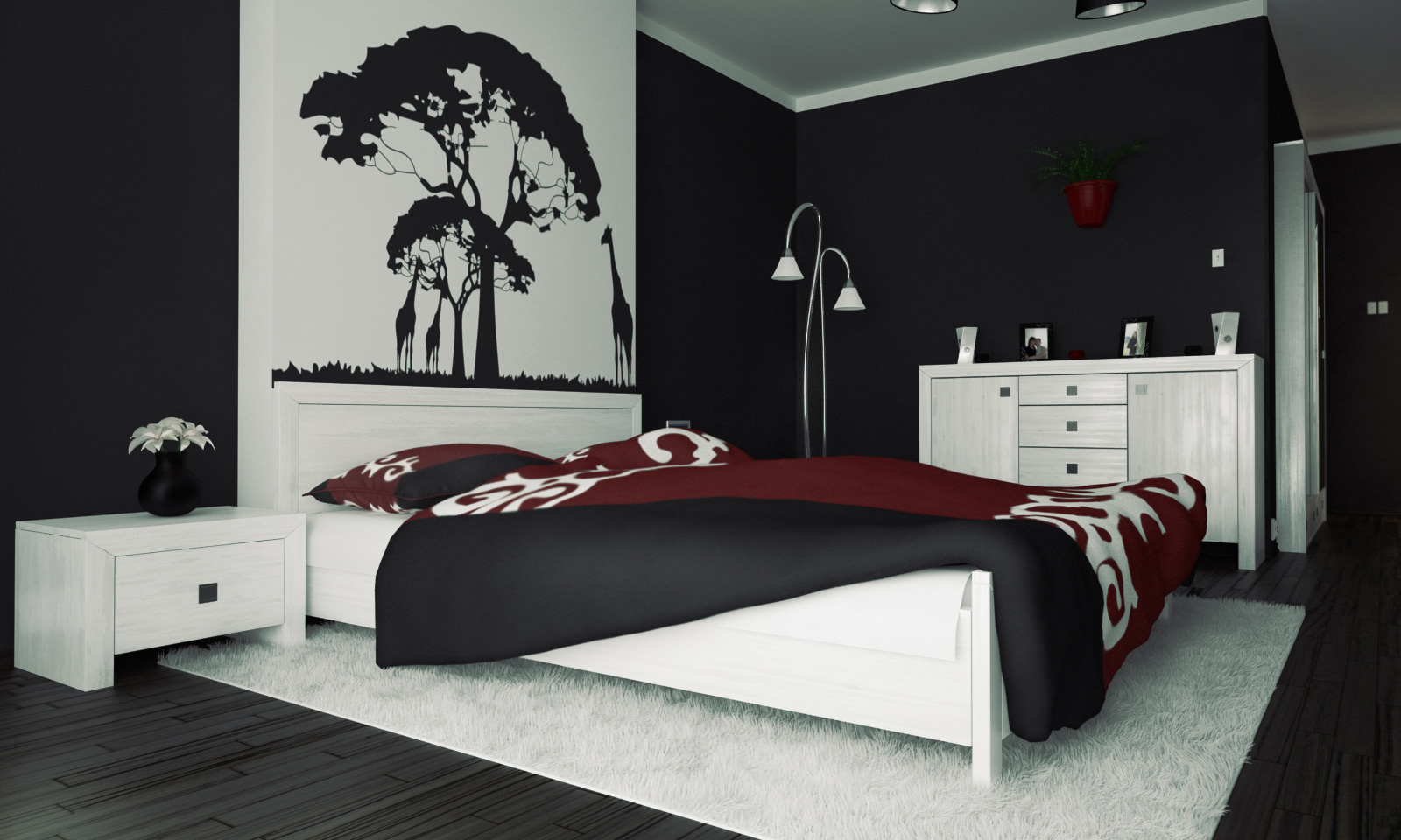 interior-killer-modern-red-black-and-white-bedroom-decoration-using-black-and-white-tree-bedroom-wall-mural-including-black-white-bedroom-wall-paint-and-modern-white-night-stand-inspiring-picture-of-r