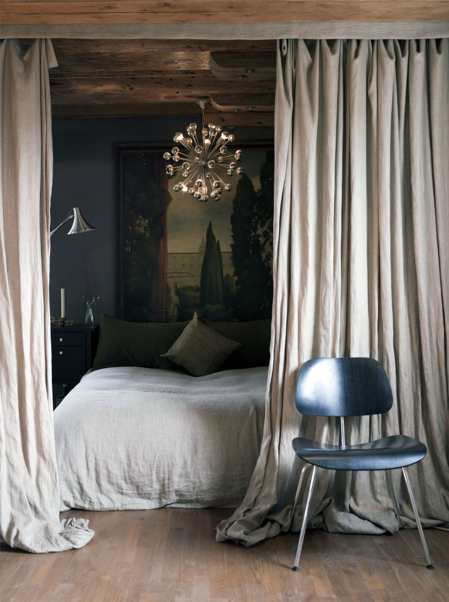 interior-light-grey-bedroom-divider-curtains-combined-small-chandelier-simple-bedroom-divider-curtains-beautifies-each-interior-design-easily