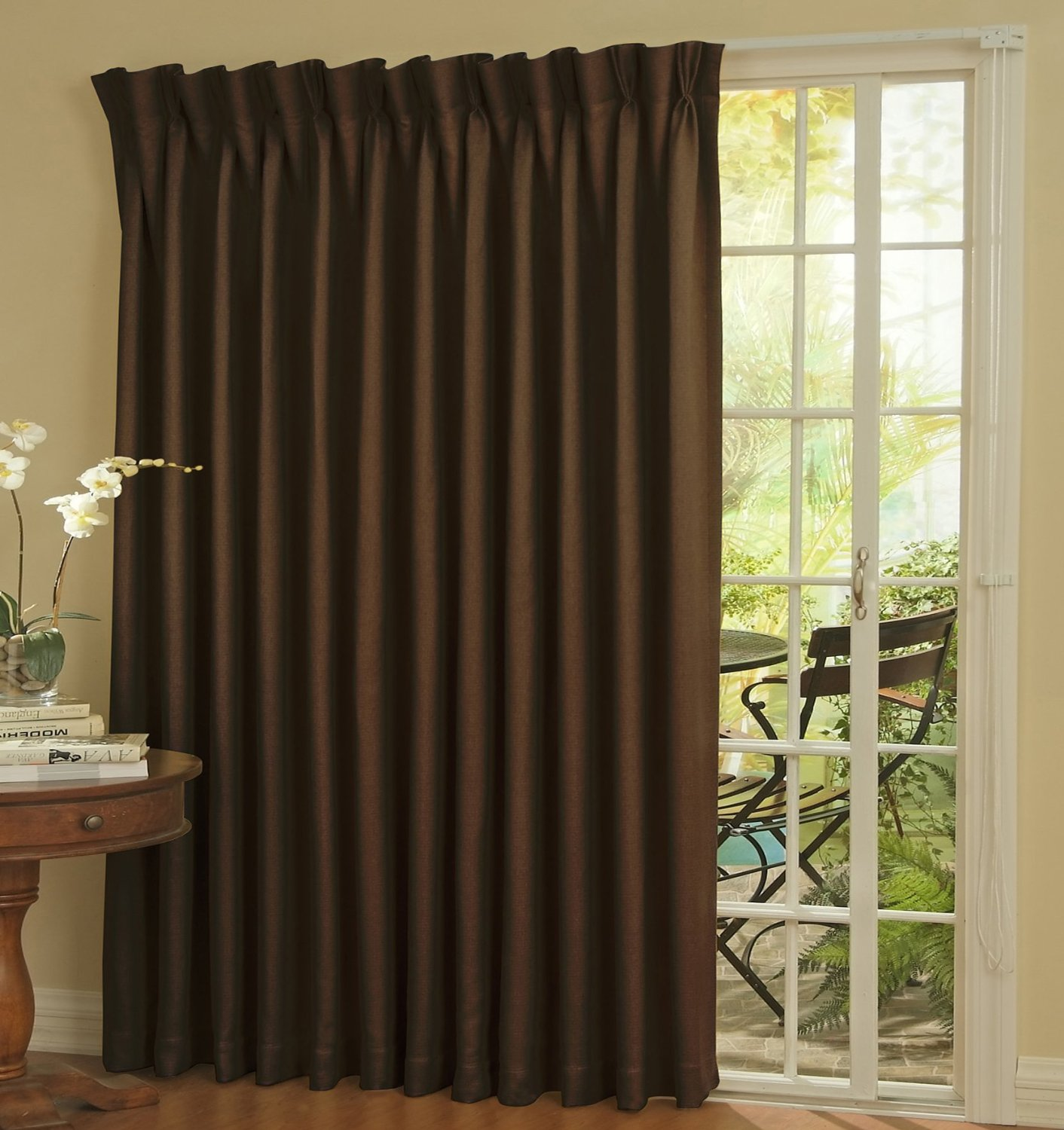 interior-long-dark-brown-fabric-curtain-for-sliding-glass-door-having-white-wooden-bars-on-it-placed-on-the-cream-wall-curtains-for-sliding-glass-door