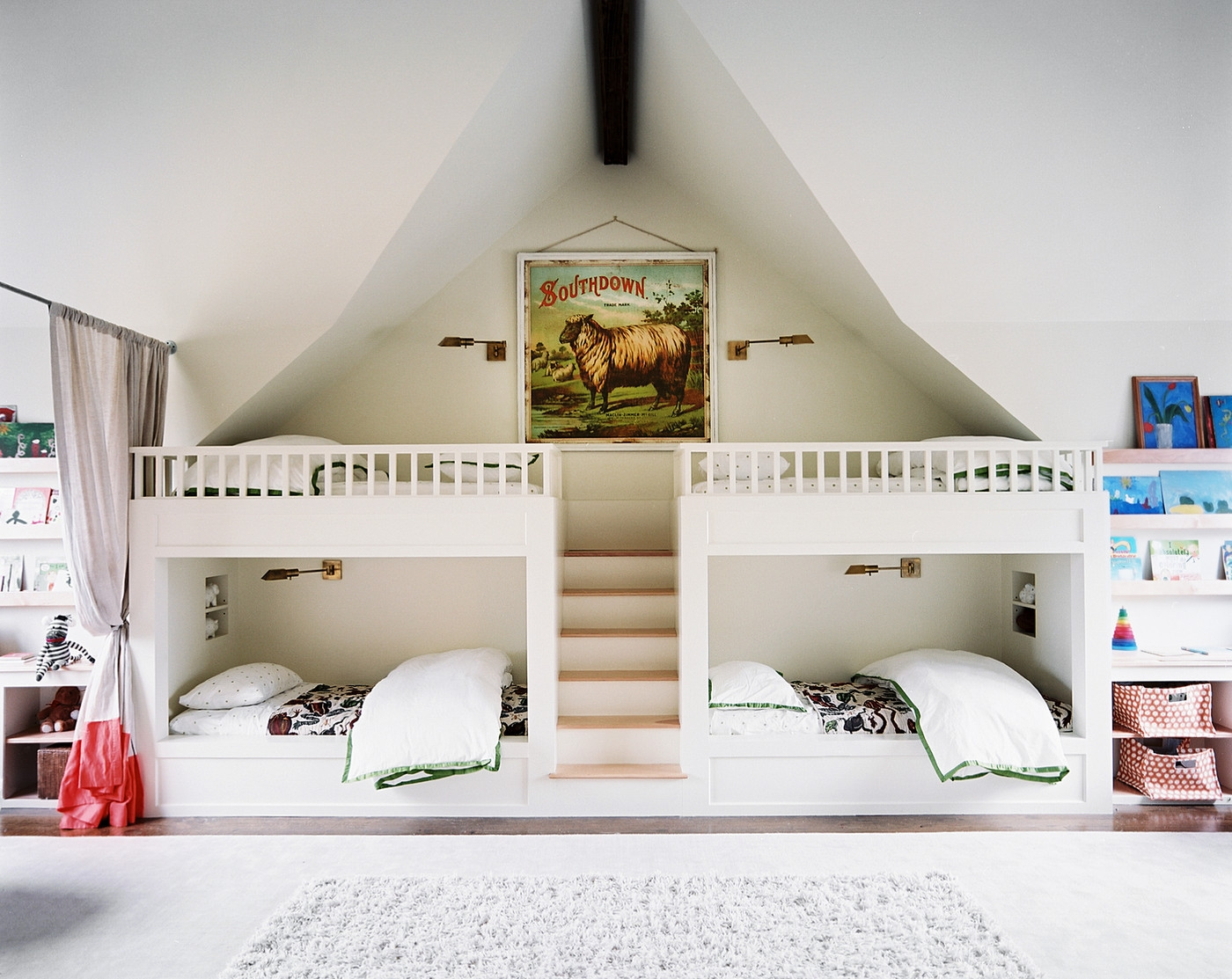 kids-bedroom-fair-picture-of-shared-kid-white-bedroom-decoration-using-white-wood-kid-bunk-bed-with-staircase-including-floor-standing-white-twin-ikea-kid-shelf-and-all-white-kid-room-wall-paint-charm