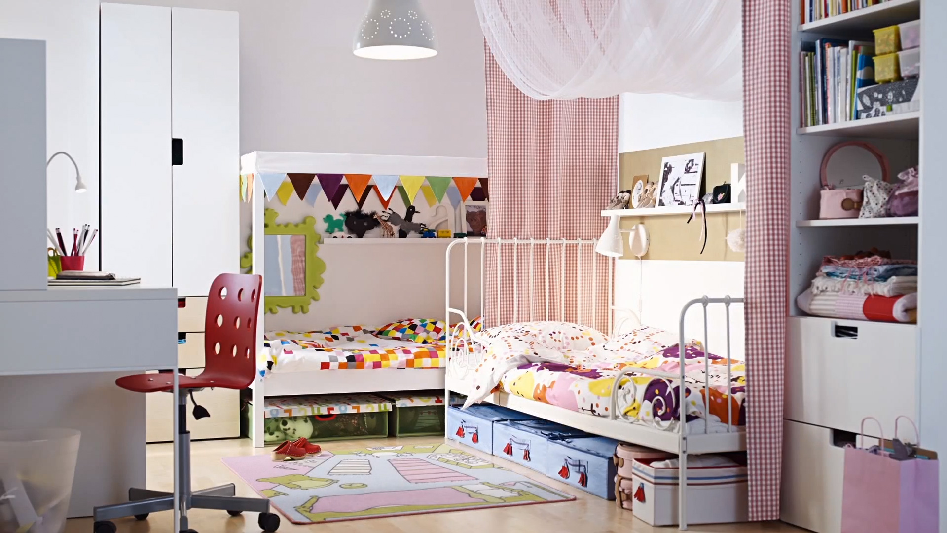 kids-shared-bedroom-two-ikea-beds-in-an-l-shape-with-fabric-room-kids-room-ideas-ikea-ikea-childrens-furniture