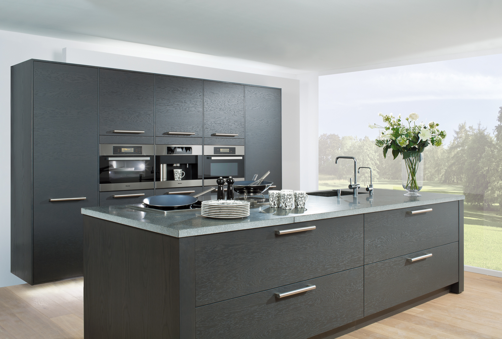 kitchen-island-and-rear-wall-units-are-shown-in-basallt-grey-oak-veneer-finsh