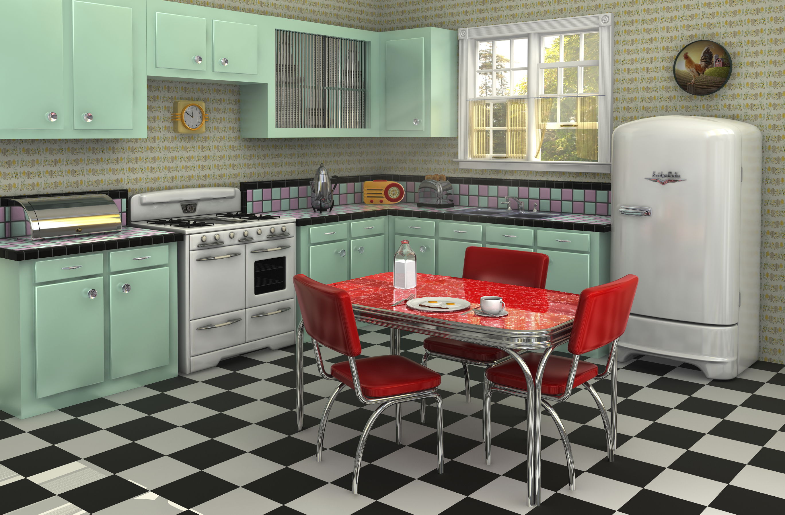 Retro kitchen from the 1950s complete with stove, refrigerator, chrome dinette set, percolator, toaster, bread box and radio