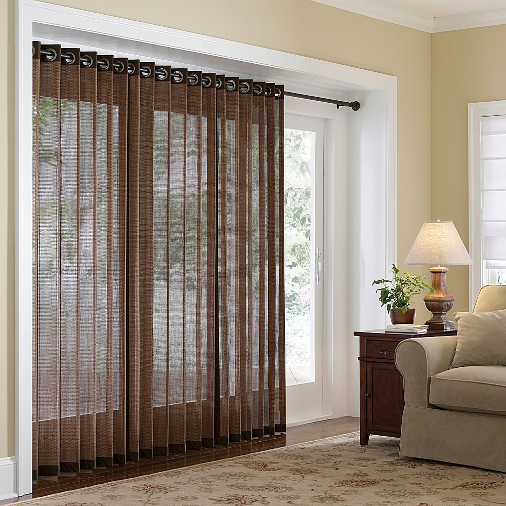 large-white-lacquer-wooden-sliding-glass-door-using-brown-sheer-curtain-hanging-on-black-polished-rod-with-roman-shades-and-modern-window-treatments-for-sliding-glass-doors