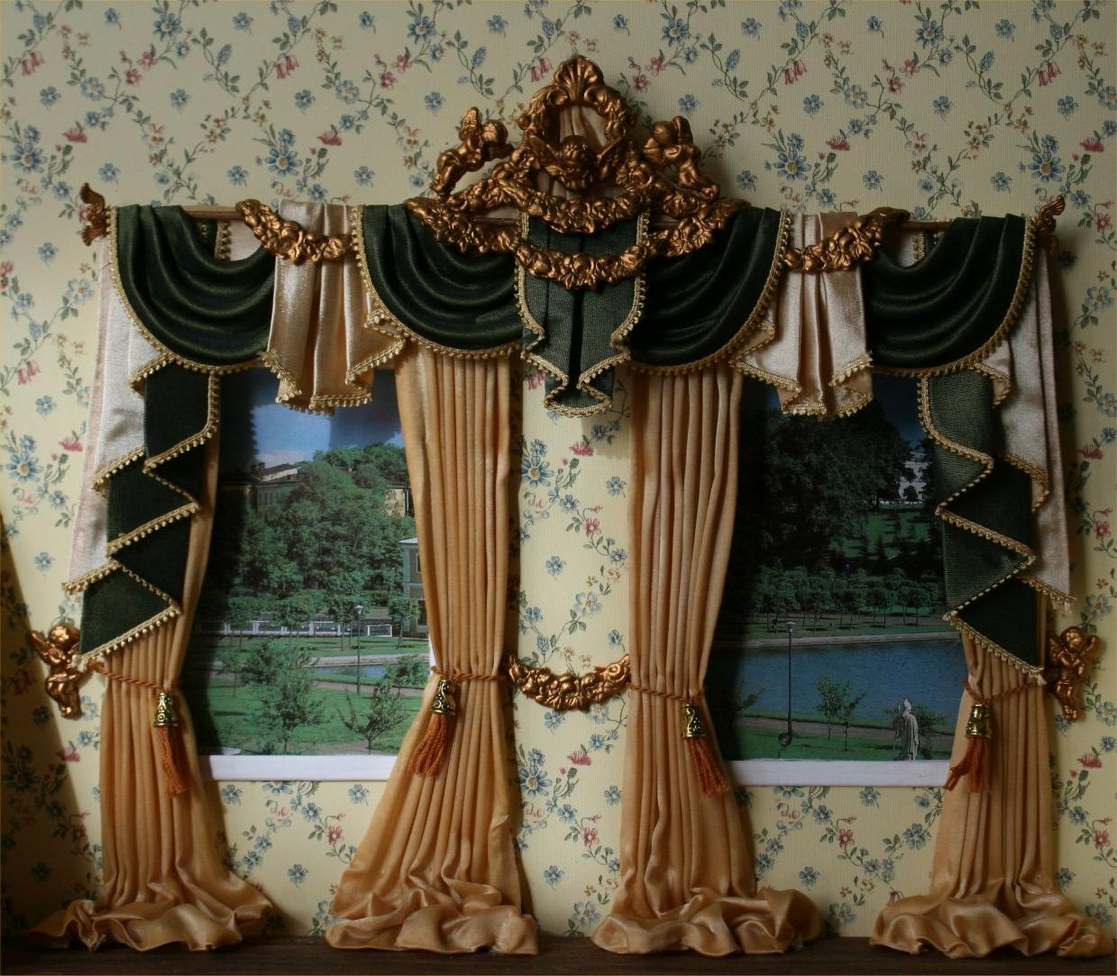 light-brown-and-green-valance-curtains-barocco