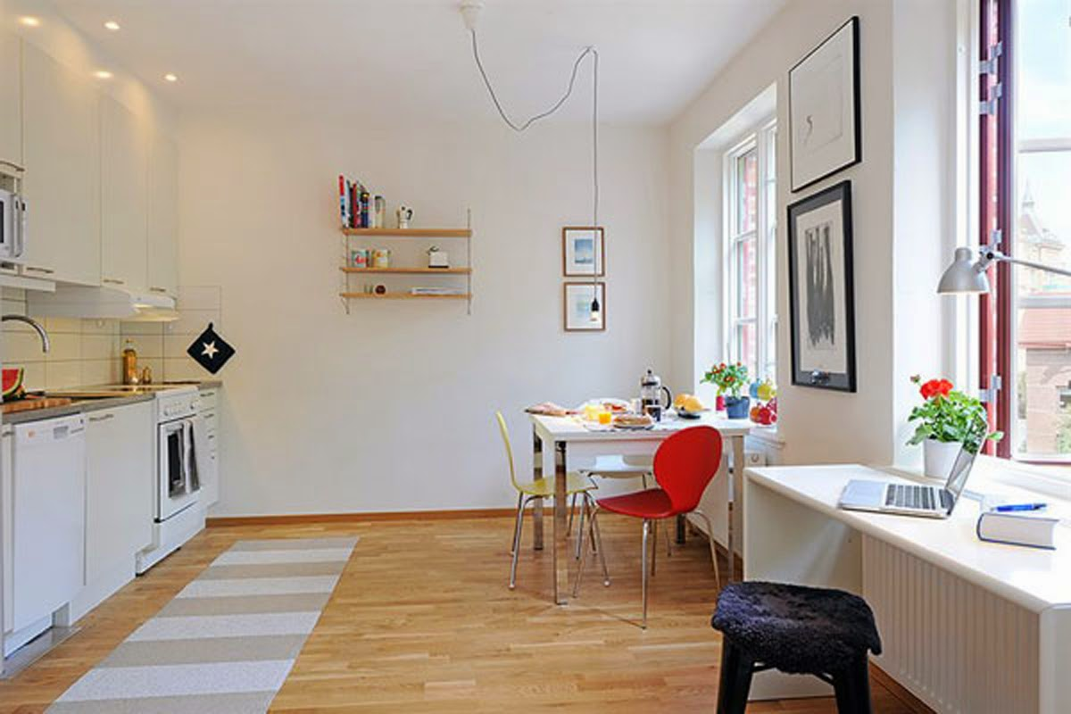 long-brown-striped-area-rug-in-front-of-white-open-kitchen-concept-for-small-apartment-space-idea