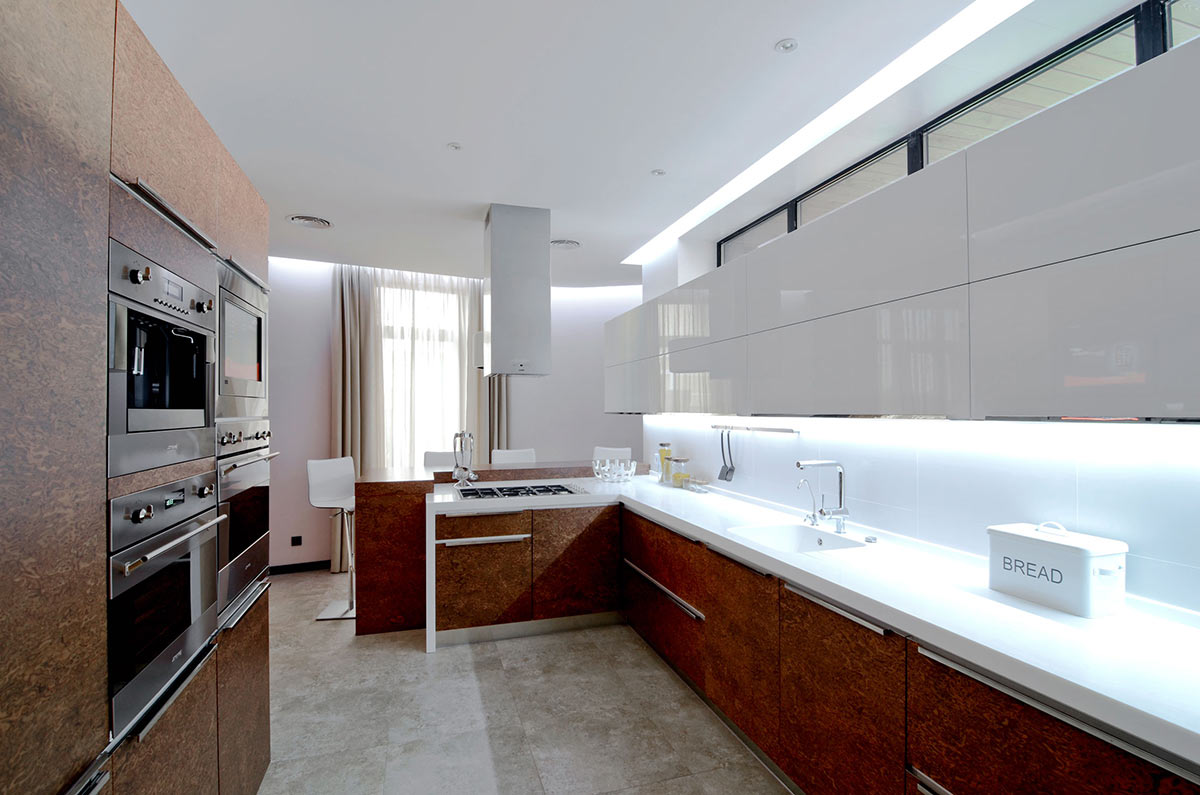marvelous-kitchen-elegant-modern-white-and-brown-concept-along-with-brown-wooden-shelving-cabinet-on-the-kitchen-table-and-white-wooden-laminate-floating-shelves-cabinet-attached-to-the-wall-also-chro