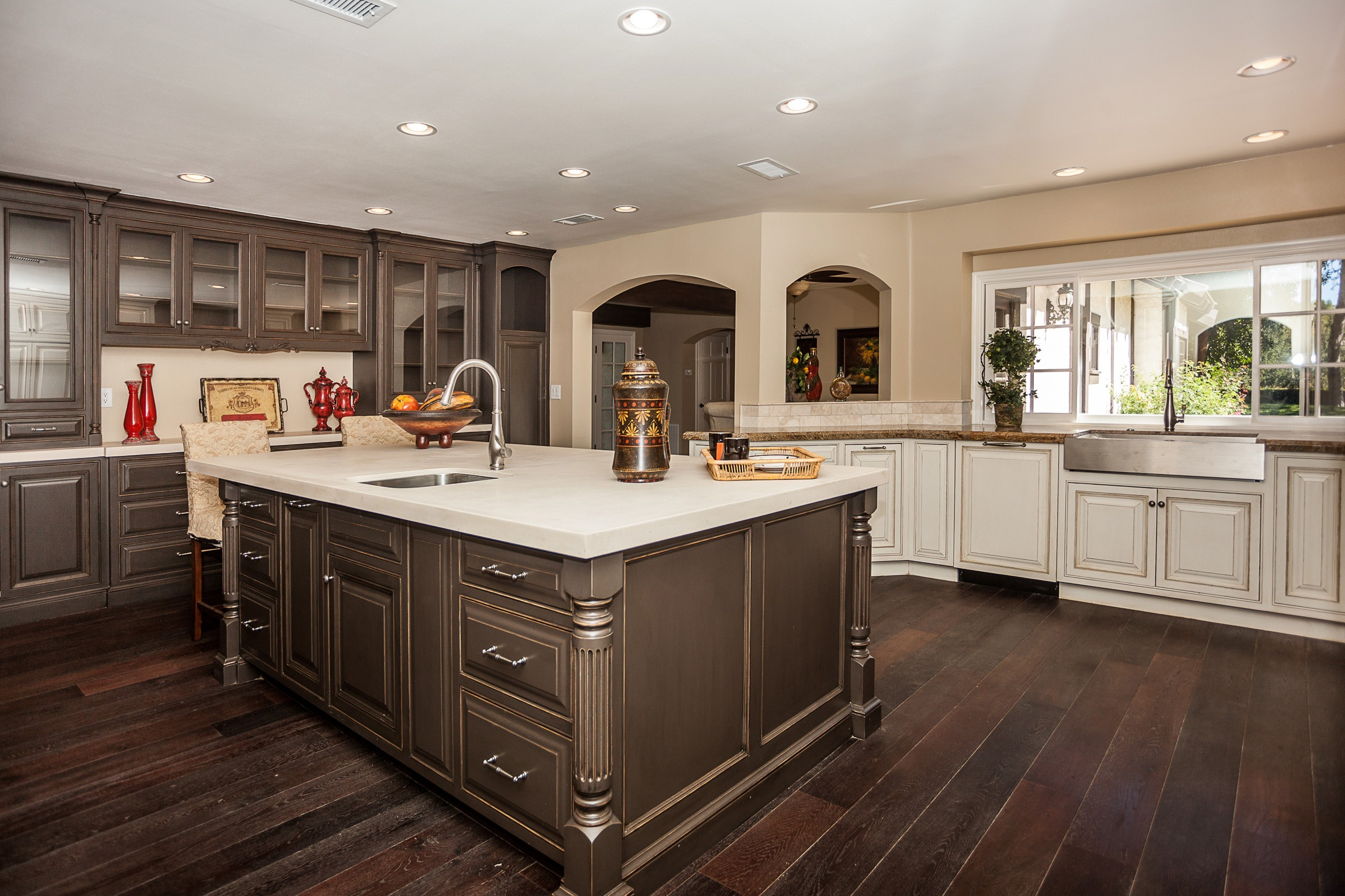 mesmerizing-brown-kitchen-cabinets-with-brown-wooden-kitchen-cabinet-mounted-on-the-wall-and-white-wooden-pedestal-countertop-be-equipped-chrome-stainless-sink-thereon-also-white-wooden-cabinet-for-ki