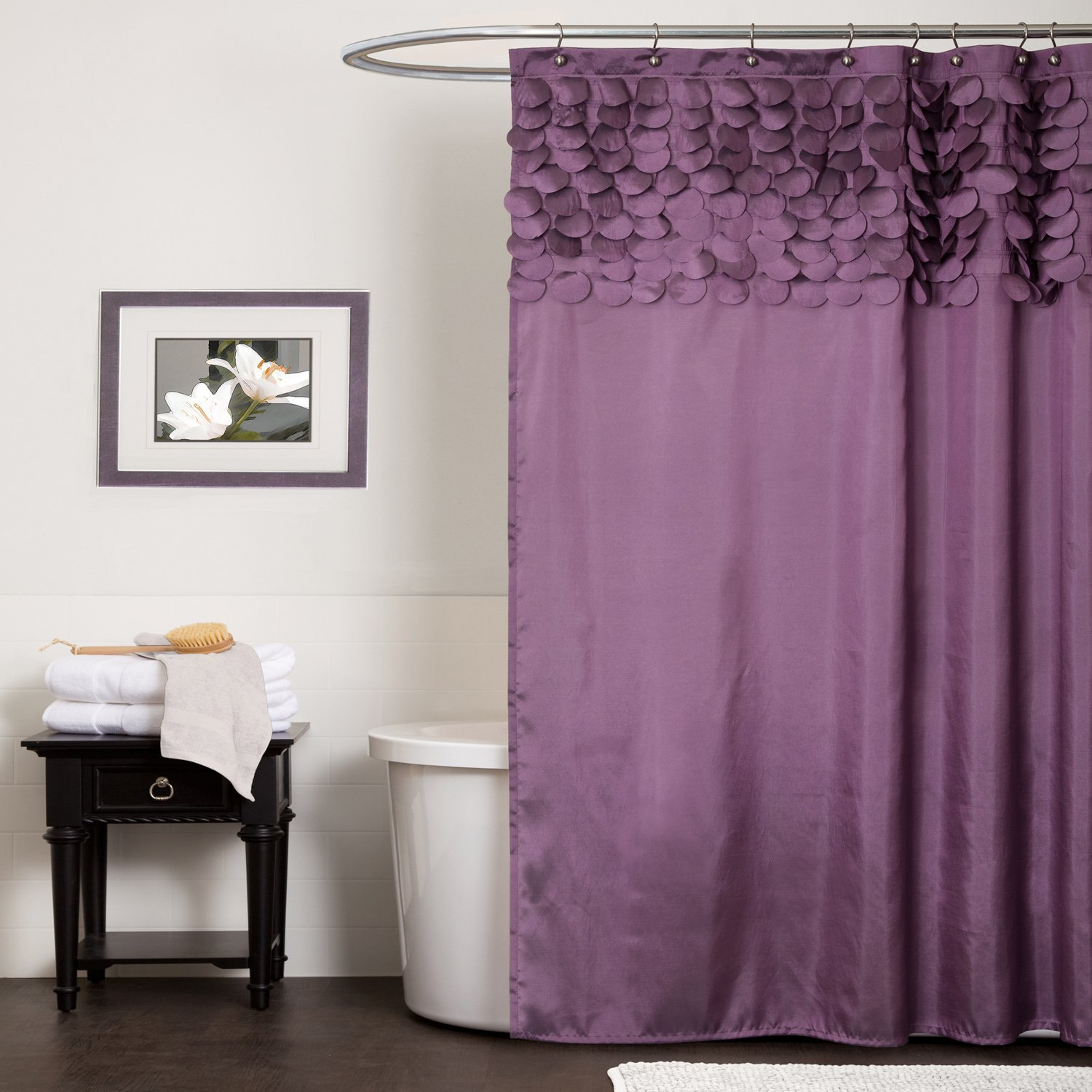 minimalist-home-interior-design-bathroom-ideas-for-small-space-with-fascinating-white-color-paint-and-beauty-purple-fabric-sliding-curtains-covering-elegant-bathtubs-as-well-as-designer-bathrooms-and