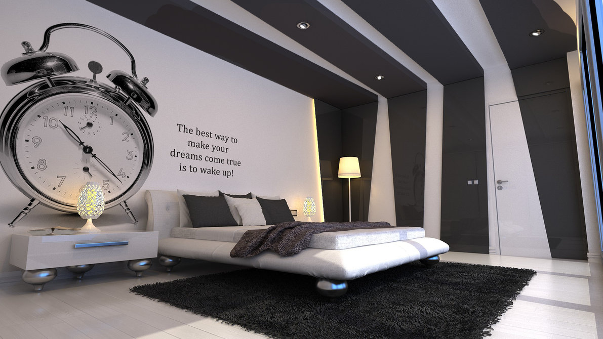 modern-bedroom-with-big-clock-wallpaper-and-fur-rug-and-beige-bed-cover-also-brown-blanked-and-wooden-flooring