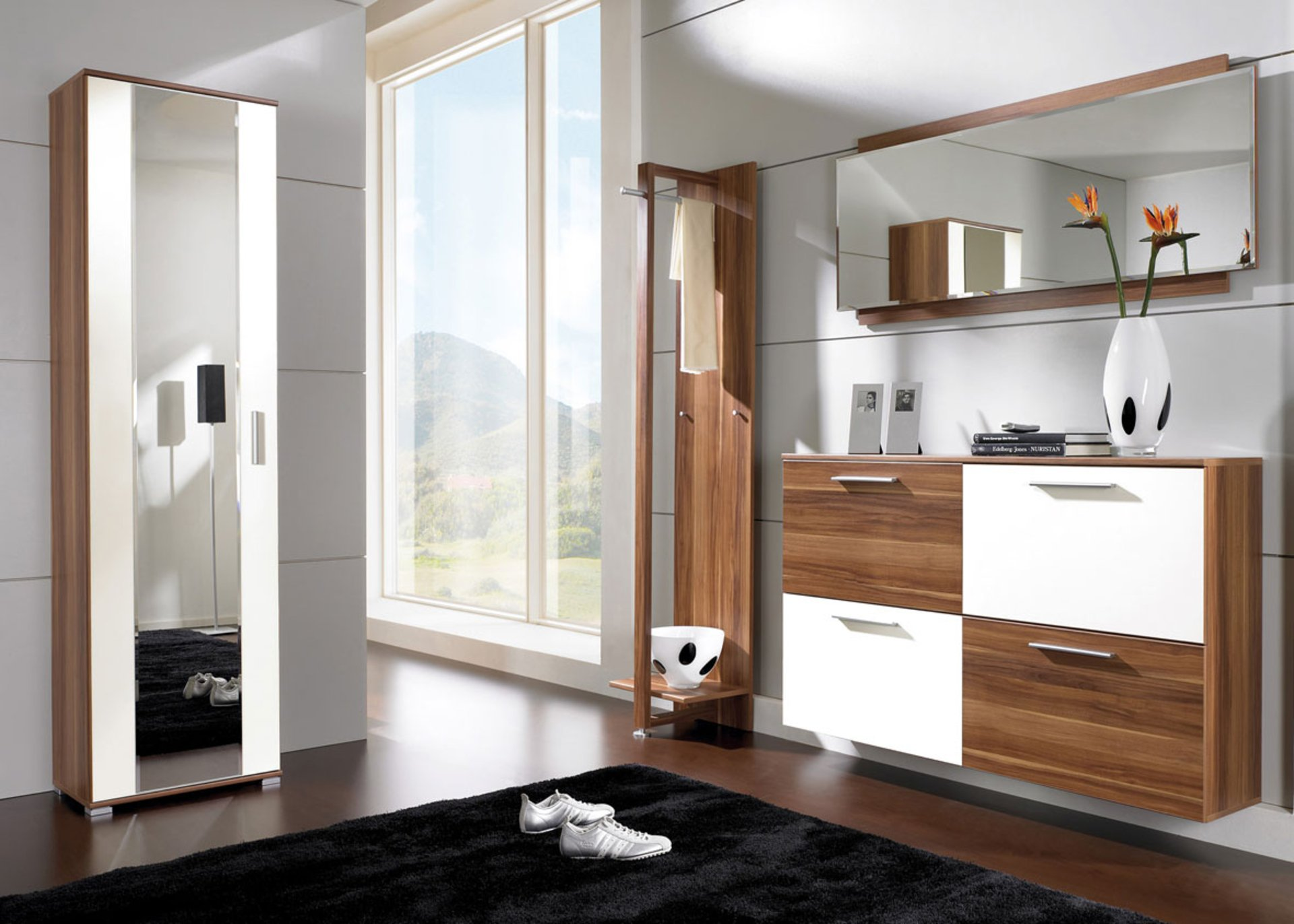 modern-hallway-furniture-storage-design-with-wood-wall-mounted-cabinet-mirror-and-small-mudroom-ideas