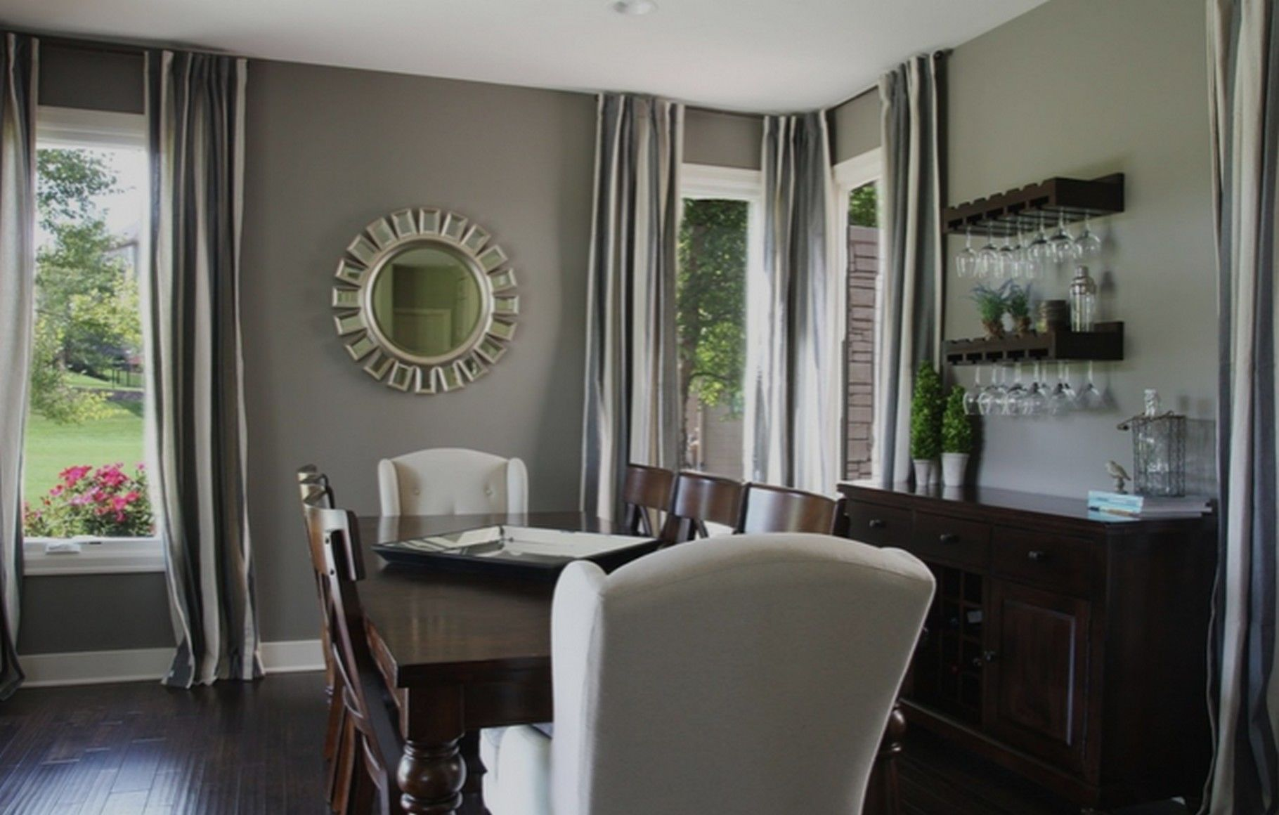 ideas for dining room decor with grey walls