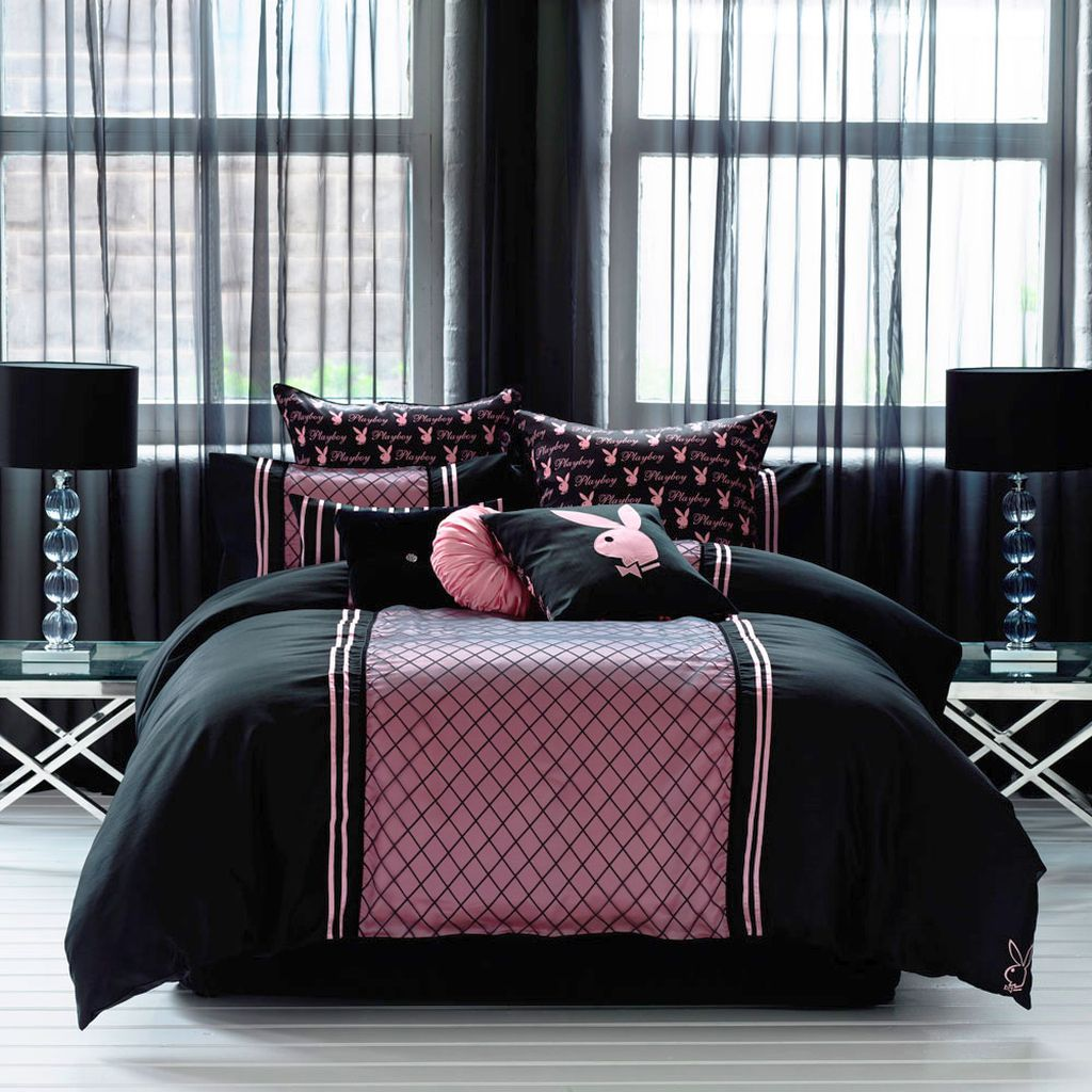pink-and-black-bedroom-decor-with-playboy-logos