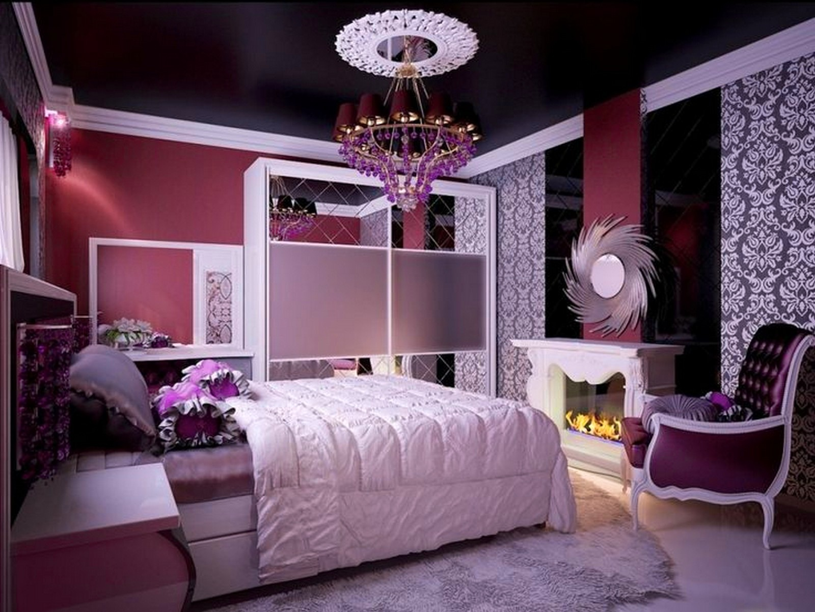 purple-flower-motive-bedroom-decoration-white-sheets-bed-chandelier-shof-tennege-color-scheme-blue-small-curtains-pink-large-size-pendats-fur-rug-ideas-teenege-rugs-round-table-pillow