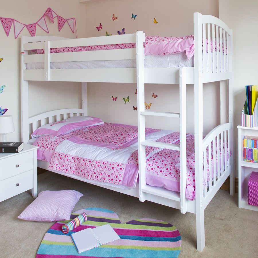 ravishing-kids-bedroom-sets-ikea-design-with-white-havertys-bunk-bed-along-pink-patterned-bedding-sheets-also-white-drawer-bedside-plus-multi-color-carpet-on-the-gray-floor-with-ikea-small-living-room