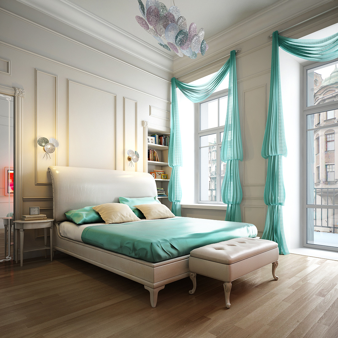 romantic-bedrom-decorated-with-spacious-curtains