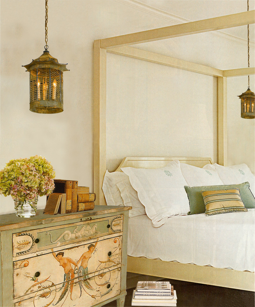 silverware-chest-bedroom-traditional-with-aged-books-antique-book-antique-patina-pendants-beige-bed-blue-throw-pillow