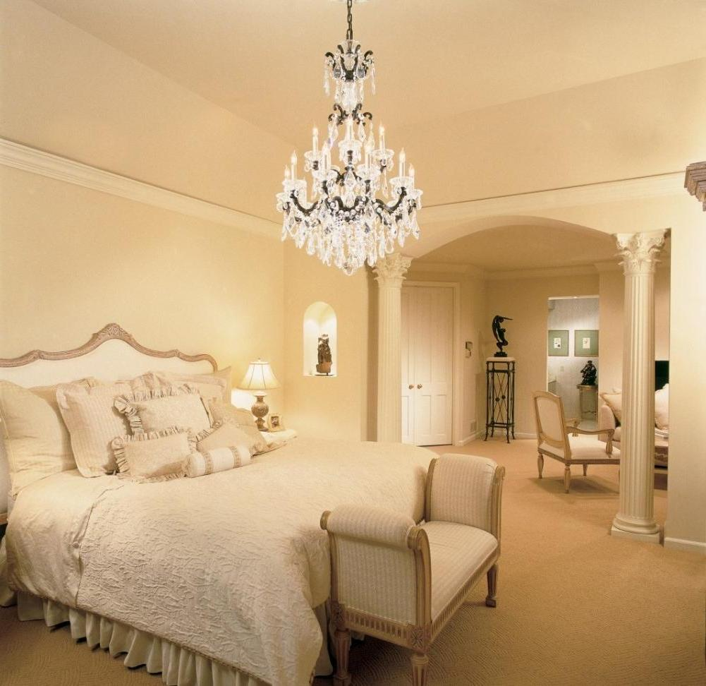 simple-crystal-chandelier-for-bedroom-design-with-beige-paint-wall-including-white-duvet-cover-also-brown-carpet-covering-floor