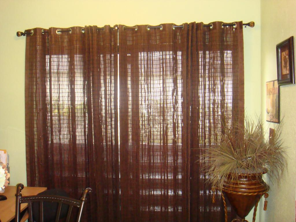 sliding-glass-door-window-curtains-in-chocolate-brown-finished-combined-with-brown-pottery-pot-on-iron-stand-as-well-as-roller-shades-for-sliding-glass-doors-and-drapery-hardware