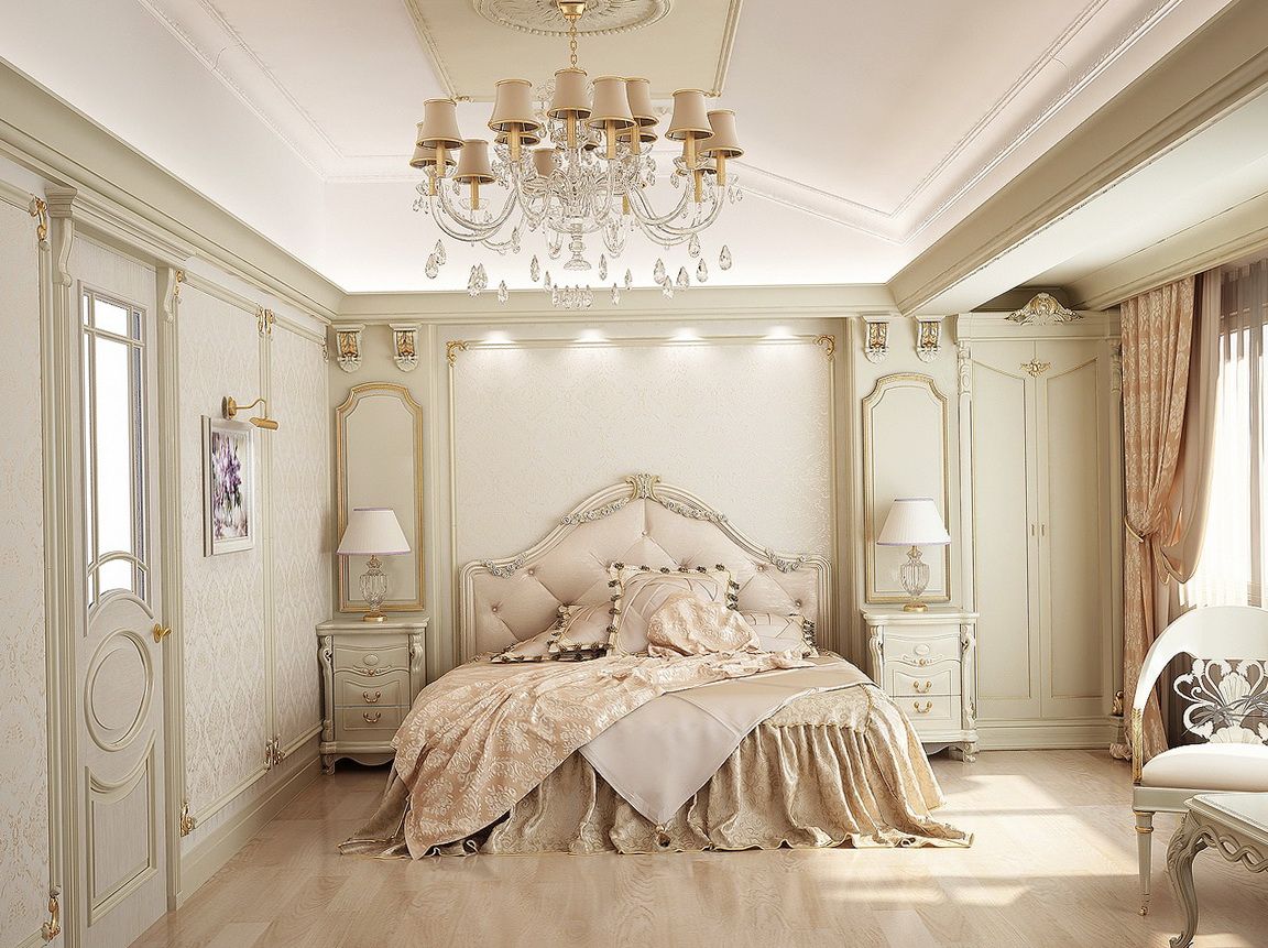 The chandelier in the bedroom