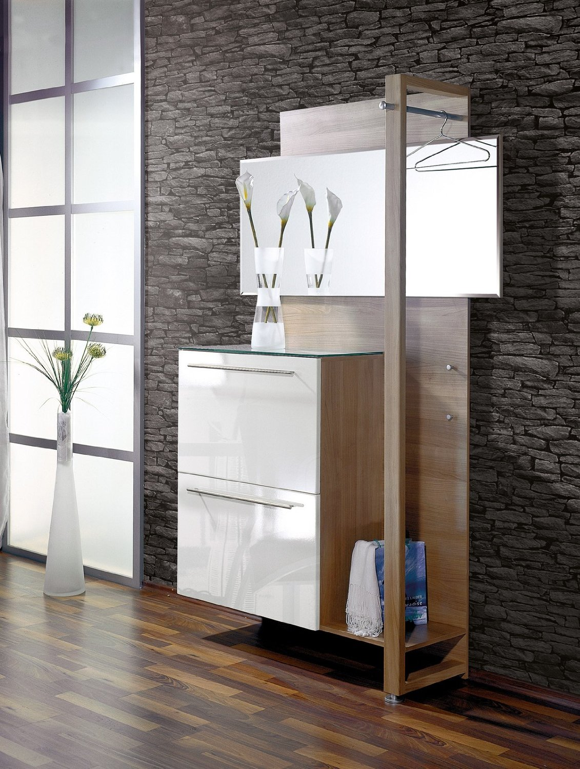 small-modern-hallway-storage-design-for-contemporary-narrow-hallway-with-wall-mirror-clothing-hooks-and-stone-wall-ideas