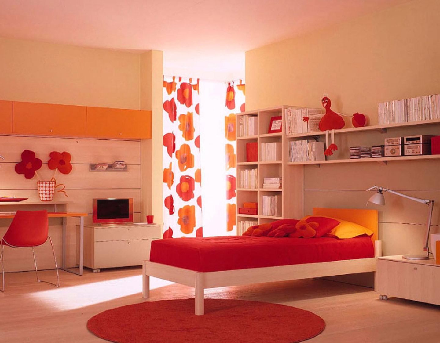 striking-red-ikea-childrens-bed-sheets-in-white-wooden-bedding-over-round-red-fur-rug-also-laminate-floor-and-white-wooden-cabinet