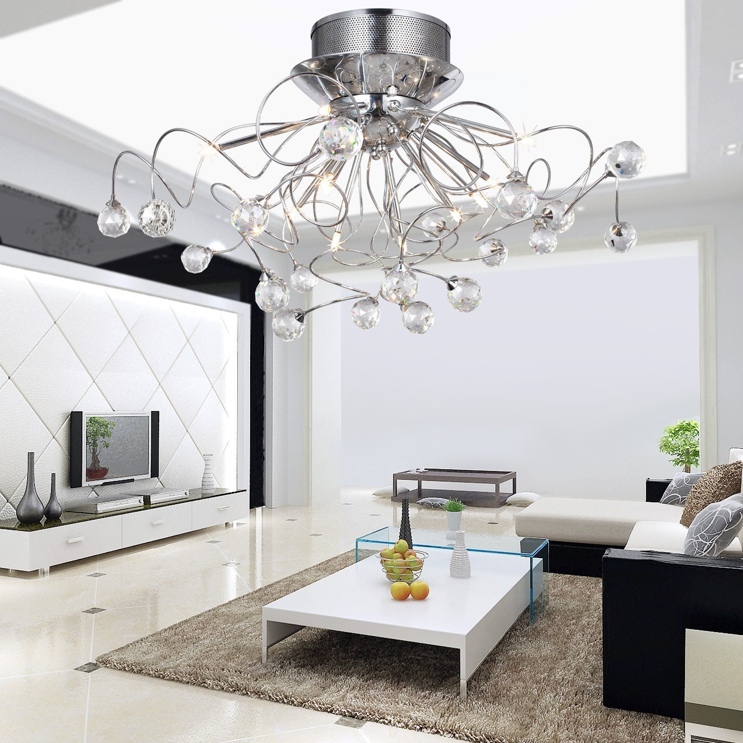 the-best-home-decorating-modern-bedroom-design-ideas-with-elegant-stainless-steel-canopy-chandeliers-including-gas-style-arm-and-comfortable-creamy-padded-mattress-near-alluring-white-sideboard-table