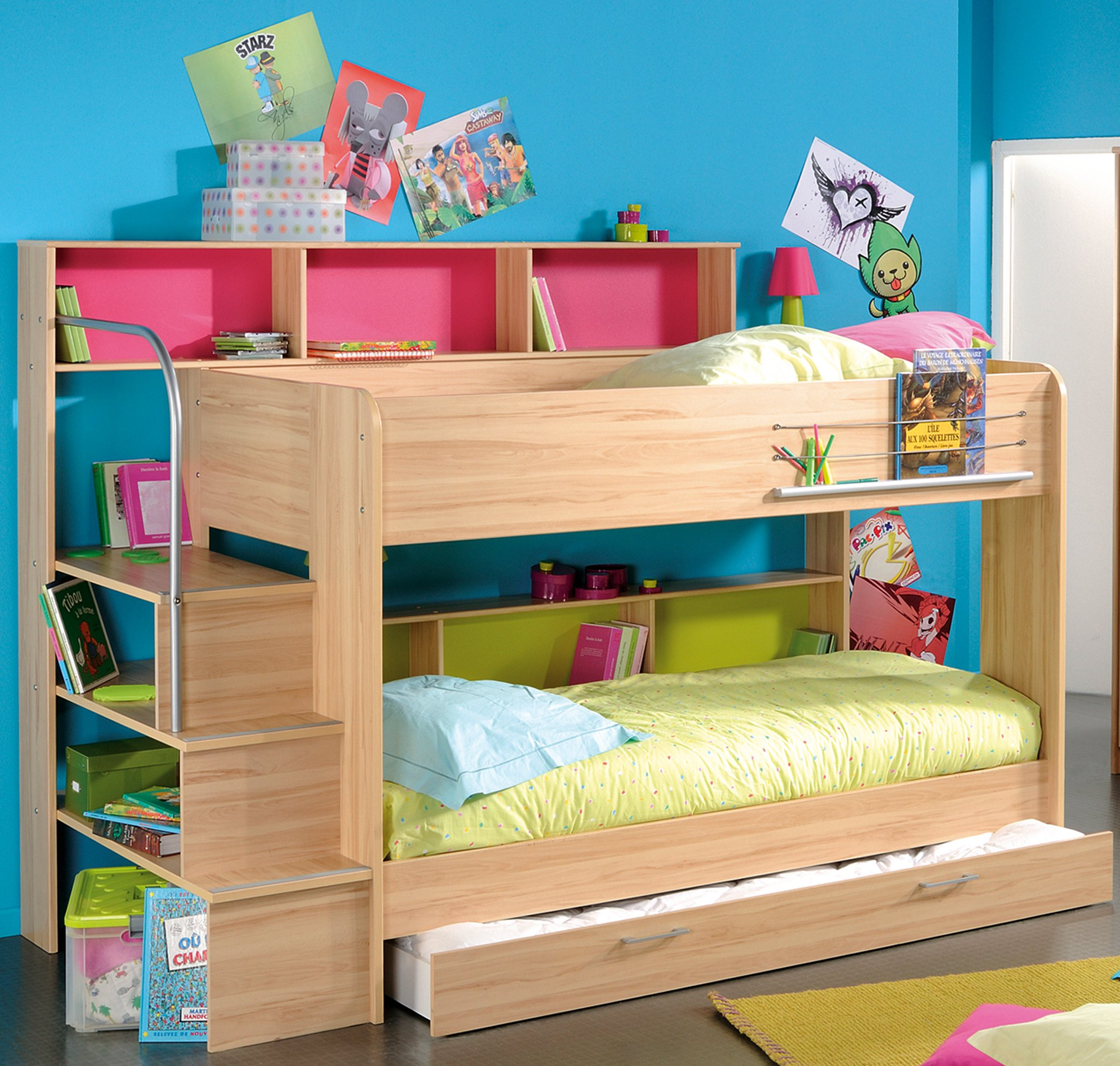 trendy-ikea-bunk-bed-design-models-for-kids-boy-by-feature-solid-beech-oak-loft-beds-trundle-with-pink-and-blue-open-storage-plus-side-left-stairs-using-stainless-steel-handrails