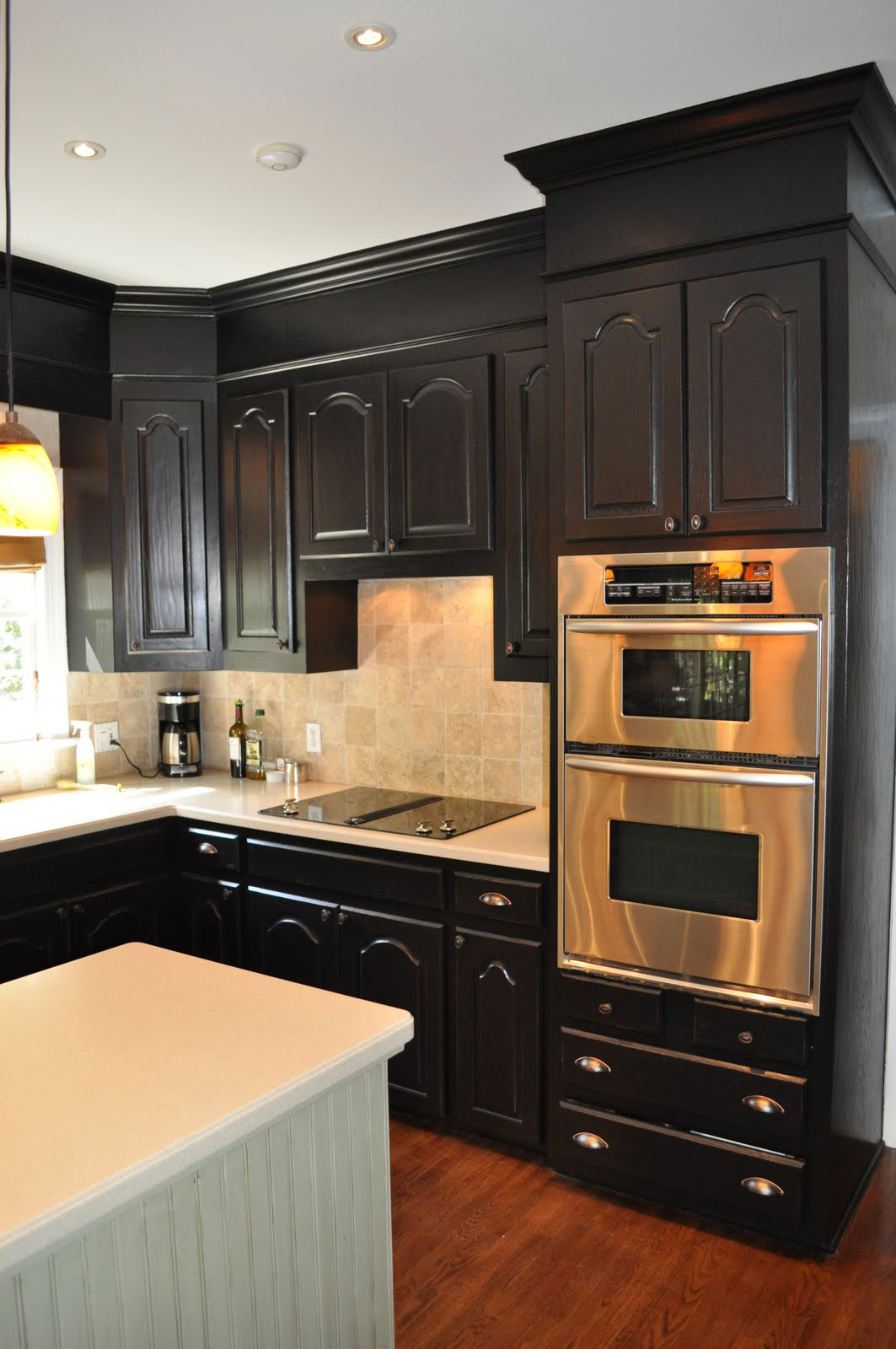 Contemporary Small Kitchen Design Black Wooden Kitchen Cabinet