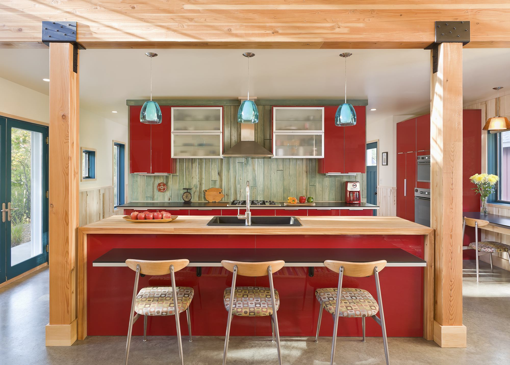 trendy-style-for-red-kitchen-design-ideas-with-rectangular-kitchen-island-combined-natural-brown-unfinished-wooden-top-and-floating-dinnete-added-fabric-pattern-seat-dining-chairs-as-well-as-kitchen-c