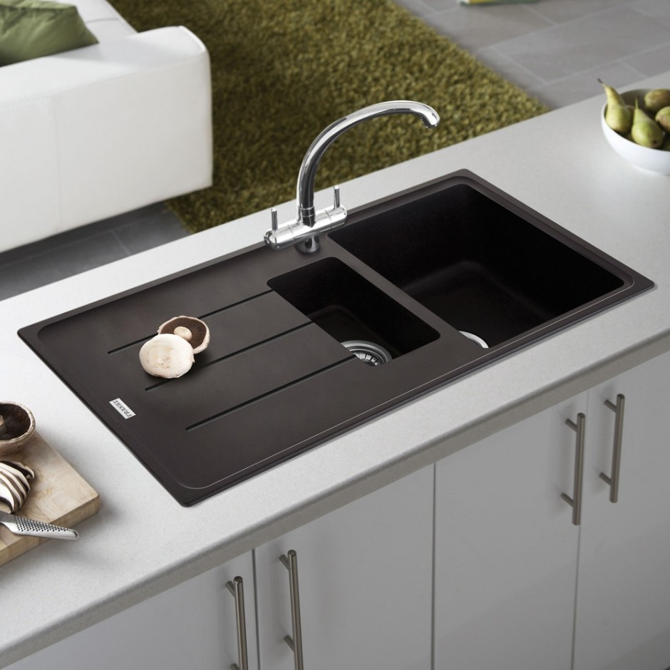 ultra-modern-black-kitchen-sink-design-ideas-photo-gallery-feat-compact-white-base-cabinets-with-long-handle-hardware-940x940