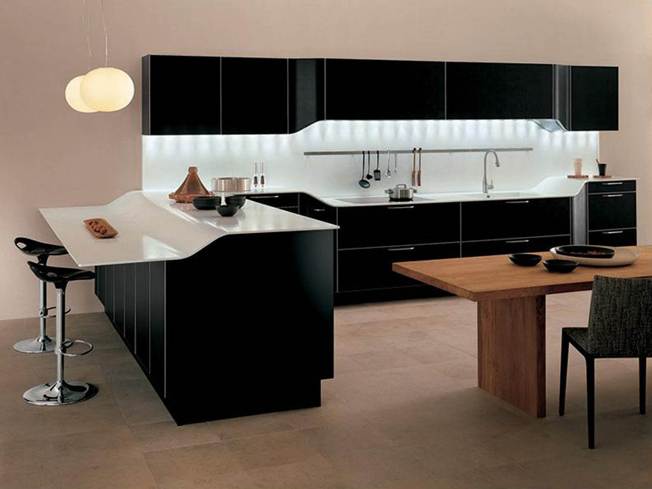 ultramodern-ikea-kitchen-cabinets-black-paint-cabinet-contemporary-style-and-astounding-shiny-white-countertops-also-creative-hidden-light-decor-under-wall-storage-with-rta-kitchen-cabinets-and-qualit