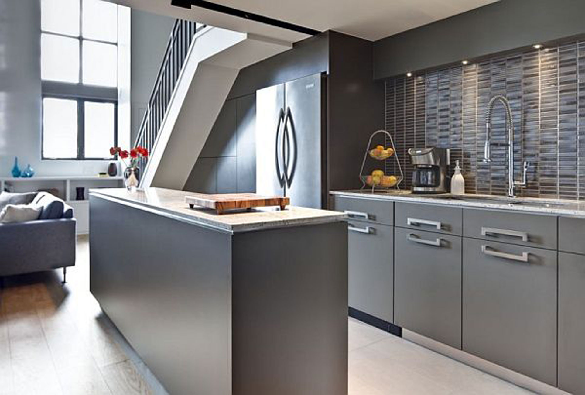 uncategorized-modern-grey-small-kitchen-in-apartment-design-with-stone-back-wall-also-calm-wall-color-for-best-kitchen-wall-decor-ideas-modern-kitchen-wall-decoration-with-wooden-furnitures-and-modern