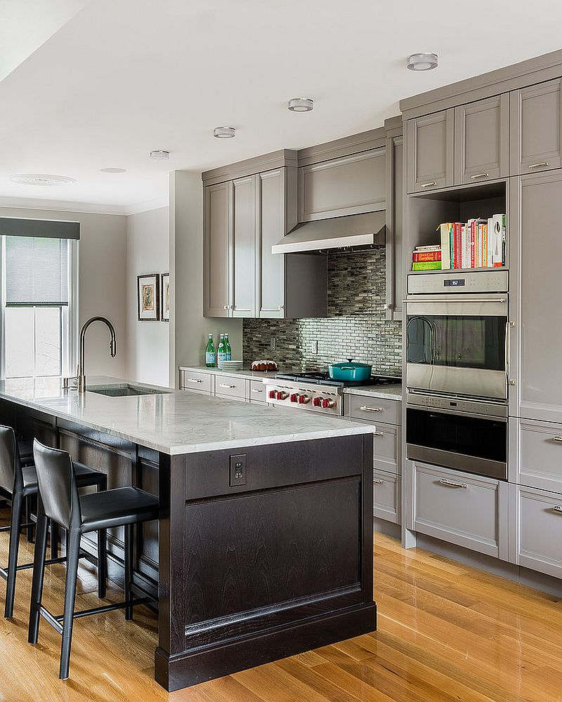 Light gray kitchen cabinets