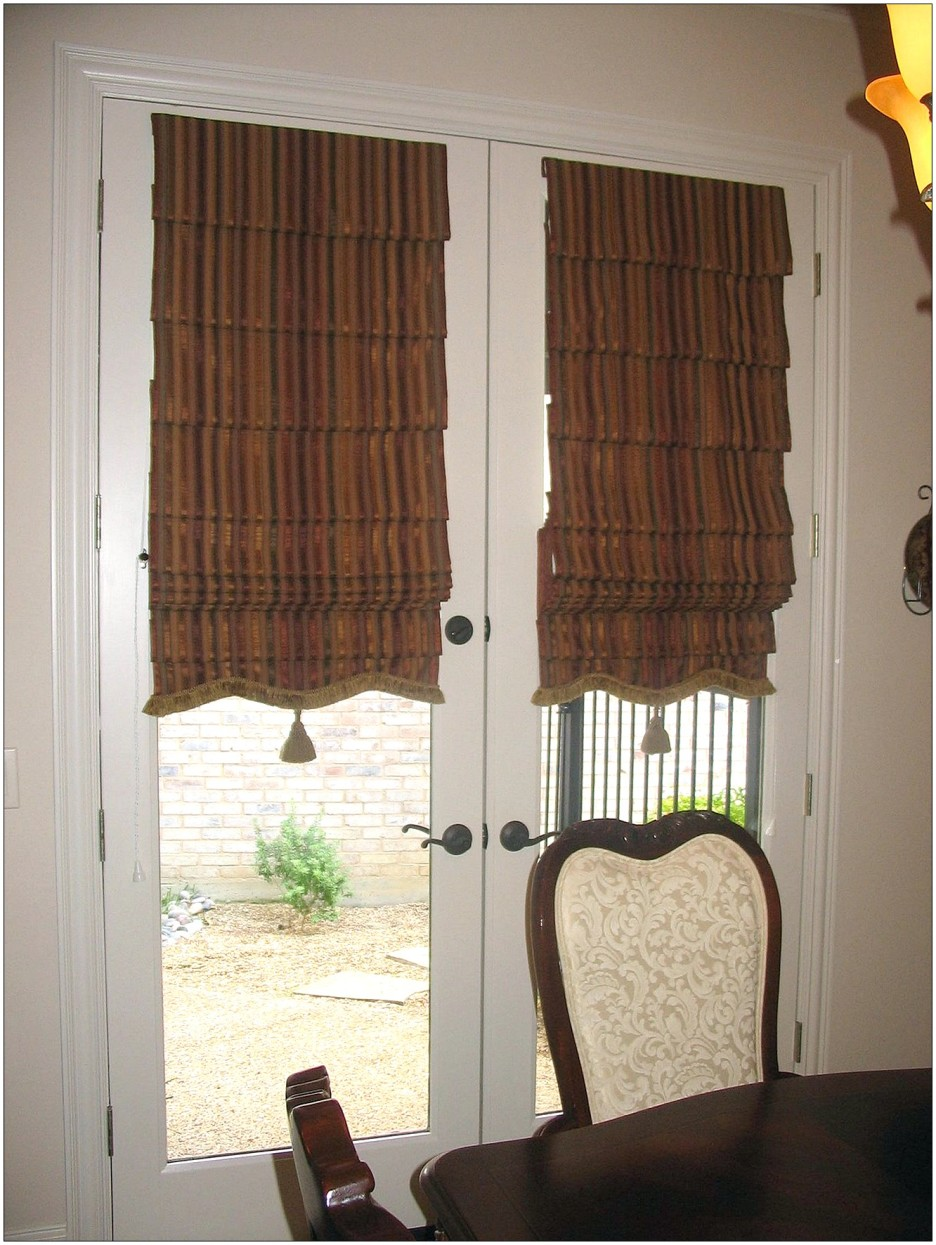 vertical-brown-black-stripped-curtains-for-glass-doors-with-white-wooden-frame-also-gray-handler-936x1245
