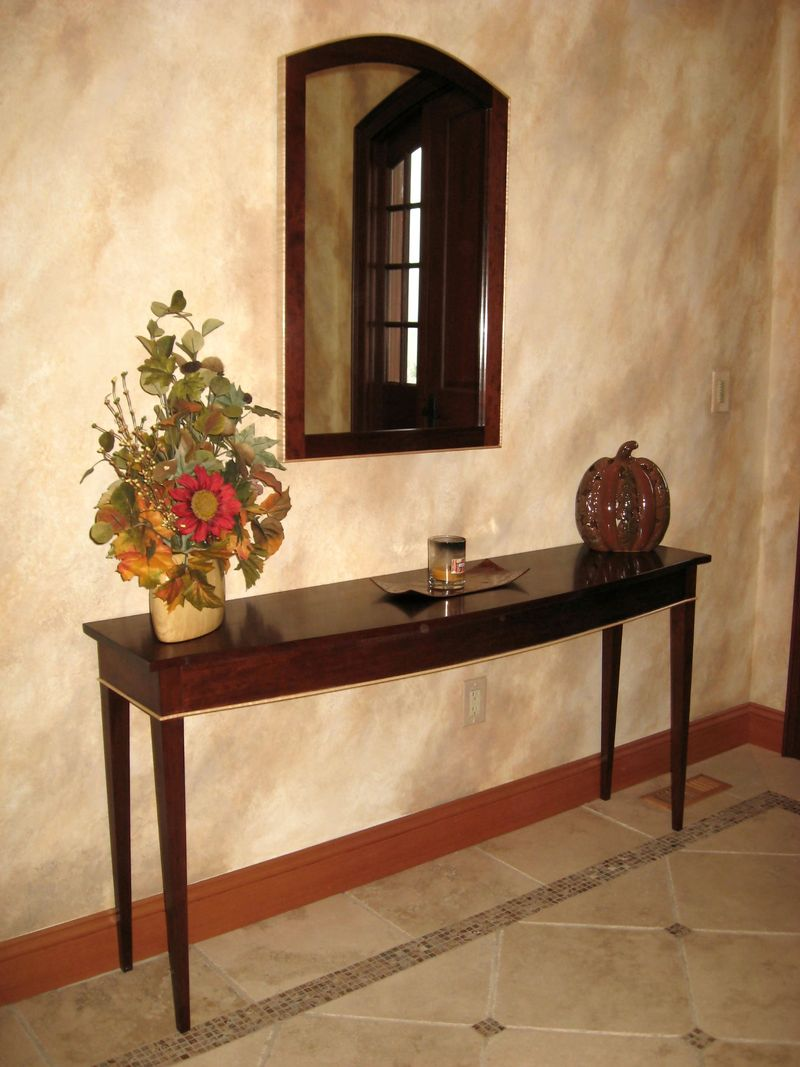 vintage-hallway-design-with-brown-interior-color-decorating-ideas-plus-wall-mirror-and-oak-wooden-table-with-flower-ideas