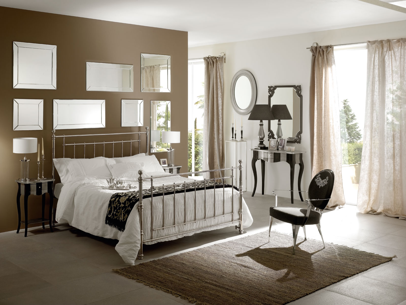 warm-brown-accent-wall-color-scheme-of-modern-teenage-bedroom-design-with-mirrored-wall-decorative-over-metal-bed-frame-and-cool-black-fabric-armchair-on-brown-carpet-floor