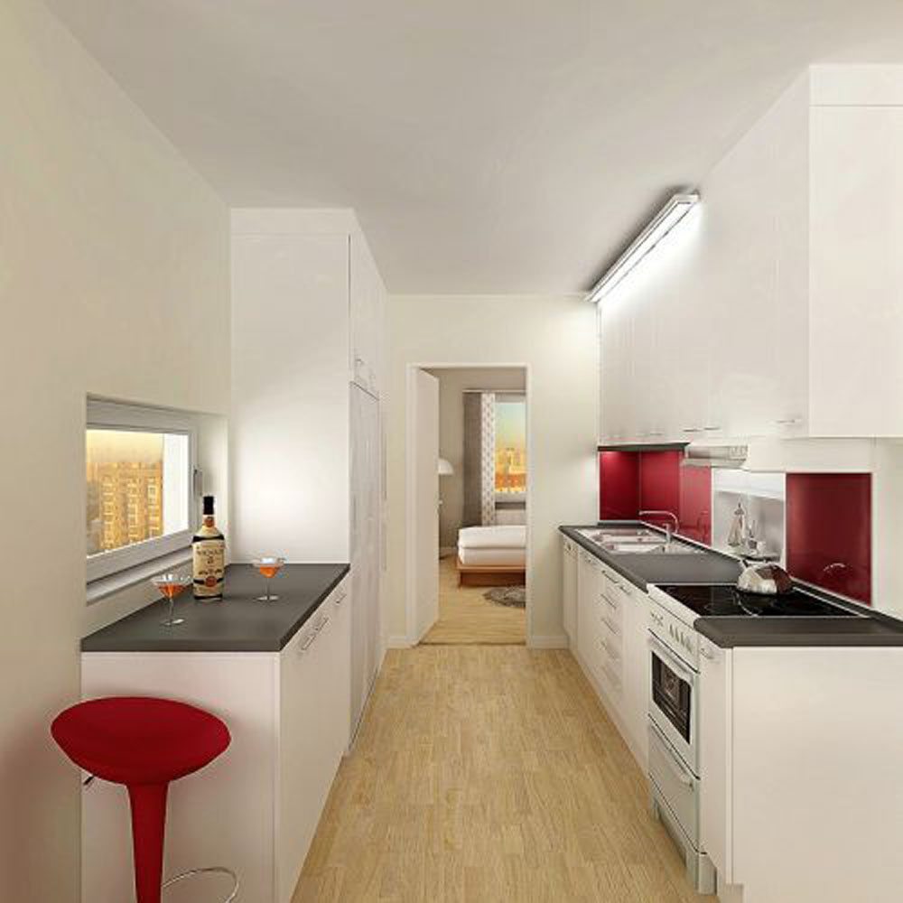 white-apartment-kitchen-with-super-white-u-shape-kitchen-with-black-countertop-also-wooden-laminate-floor-and-sink-also-faucet-apartment-kitchen