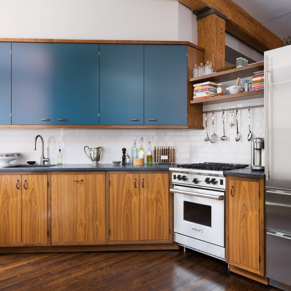 winsome-contemporary-kitchen-design-ideas-with-brick-wall-kitchen-combined-walnut-wooden-cabinet-with-blue-accent-also-modern-kitchen-appliances-in-apartment-kitchen-renovation-ideas-apartment-kitchen