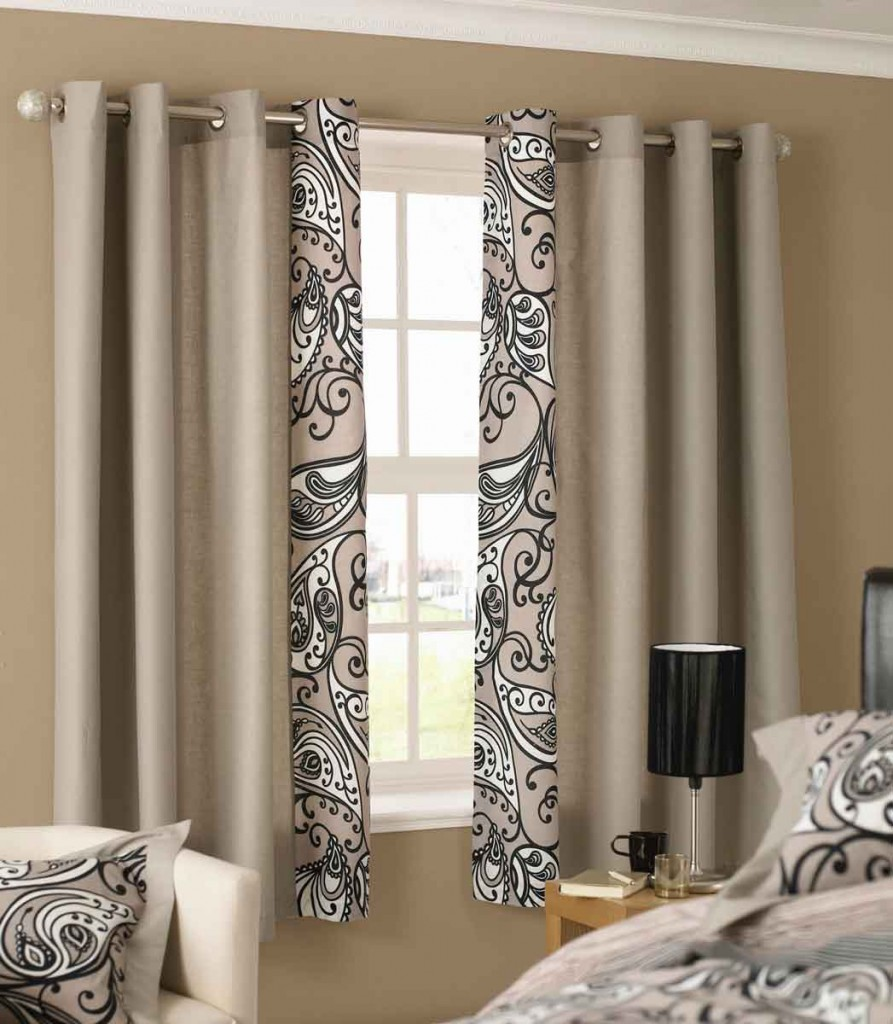 wonderful-beige-aztec-floral-pattern-polyester-grommet-top-window-curtain